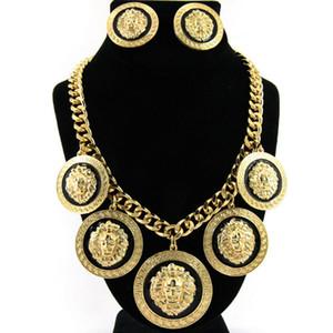 Новый женский хип-хоп Золотой лев ожерелья серьги наборы ночной клуб моды Преувеличены Голова льва Женщина ювелирных изделий Бесплатная доставка