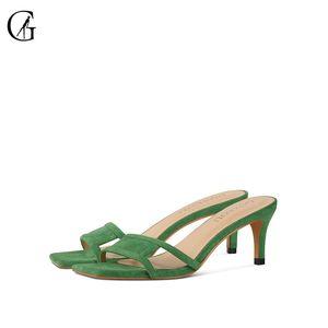 GOXEOU Kadın Sandalet Yeşil Flock Kedicik Kare Toe Kelime Strip Günlük Moda Bayan Ayakkabı Terlik Boyut 35-40