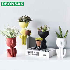 Karakter Portre Saksı Reçine Succulents Bitki Pot Özet İnsan Yüz Çiçek Ev Masaüstü Vazo Mikro Manzara Dekor T200104