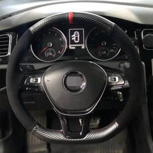 Volante del coche cubierta de la fibra de carbono de cuero Negro Gamuza Para Volkswagen Golf VW Touran 7 Mk7 encima de los nuevos del polo Jetta Passat B8 Tiguan