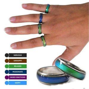 Горячий продавая размер смешивания настроение группа кольцо меняет цвет к вашей температуре раскрыть свой внутренний эмоцию дешевые ювелирные изделия