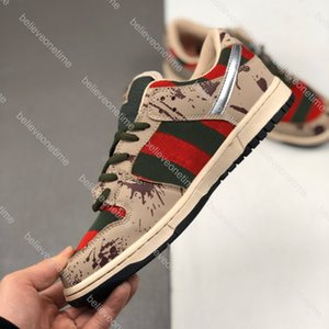 Dunk Low Pro SB Freddy Krueger Gradi Maglia Rosso Verde Uomini Donne Scarpe da corsa Cemento Nero Grigio Rosso Fuoco Designer Sport Formatori Sneakers