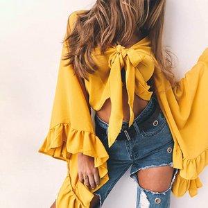 Gelbe Sommer Flare Ärmel Fliege Lolita Short Crop Chiffon- Blusen-Hemd Frauen Bowknot Hemd Blusa Sexy Tops Cardigan