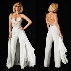 Custom Lace Jumpsuit Evening Dresses Detachable Train 2020 Sexy 3 Pieces Illusion Bodice Chiffon Backless Beach Bridal Gowns