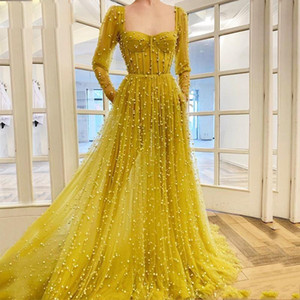 Major Beading Long Sleeves Evening Dresses Sweetheart Exposed Boning Pearls Celebrity Prom Dress Custom Made Cocktail Party Gowns