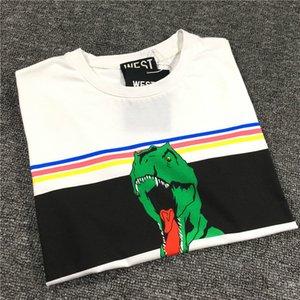 2020 Brand Luxury Mens Designer T-shirt Women Fashion Style Street Tide Rainbow Stripe Green Dinosaur Print