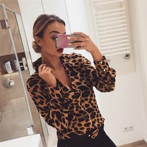 Fashion Womens Leopard Print Langarm Tops und Blusen Lose ol shirts V-Neck Party Blusas Femininas Elegante Chemise Femme