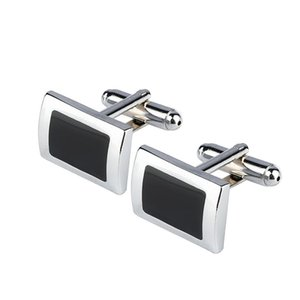 New Simple Style Black Rectangle Cufflinks Mens Shirt Cuff Button Christmas Gifts for Men Silver Plated Cuff link