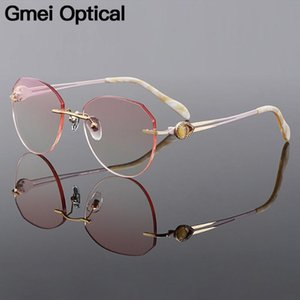 Gmei Optical Stylish Golden Alloyman Women Rimless Glasses Frame Gradient Brown Tinted Plano Lenses Colored Border Q90037
