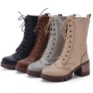 Sexy Military Boots Women Lace Up Black Leather Ankle Boots Mid Heel Goth Style Short Boots Autumn High Quality Plus size 35-43