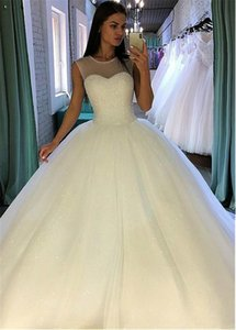 Resplandeciente vestido de novia de la tripulación de lentejuelas tul joya cuello vestidos de bola con Listones blusa Vestidos de novia Vestido de Fiesta Sleevelss Longo