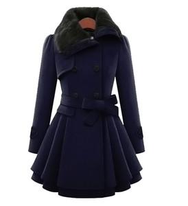Mode-Damenmode-dünne A-Line Lange Mäntel Frau Wolle-Mischungen Oberbekleidung zweireihige Mantel-Winter-Warm-Frauen-Kleidung plus Größe M-4XL