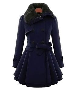 Warm Blends Mode-Damen A-Line M-4XL Mäntel Größe Wolle Mode Oberbekleidung dünne Mäntel Breasted Winter-lange Frauen-Kleidung Plus-Frau Doub Dvjd