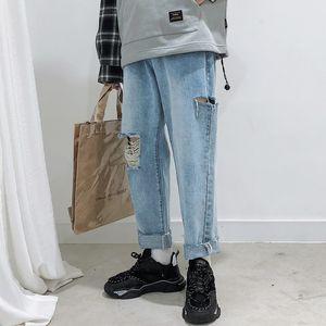 2019 Men's Washing Holes Stretch Slim Fit Casual Pants Blue Color Cargo Pocket Jeans Mens Biker Denim Trousers Plus Size S-2XL