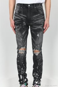 FALECTION 19FW USA FASHION CALIFORNIA AMIMIKE JEANS DENIM RIPPED PAINTED JEANS SLIM PANTS