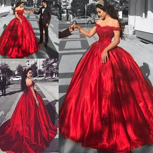 Quinceañera Vestidos Off Hombro Red Formal Party Batos Sweetheart Encaje Aplique Corset Ball Ball Vestidos de noche BA9174
