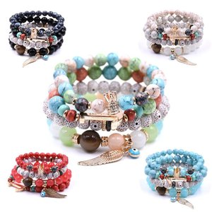 New Bohemian Fashion Stretch Bead Multilayer Bracelets With Angel Wing Crown Anchor Gift for Women