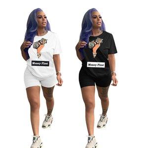 Women Clothing Summer 2 Piece Set Short Sleeve T-Shirt+Shorts Letter Sports Suit Fashion Outfits Solid Color Jogging Suit 3219