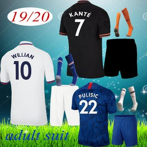 2019 ABRAHAM MOUNT PULISIC camisa jersey adulto de futebol de futebol 2020 Bakayoko Camiseta WILLIAN 2019 2020 Kante KIT SETS meias UNIFORME