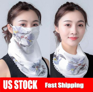 US Stock Cheap Women Scarf Face Mask Summer Sun Protection Silk Chiffon Handkerchief Outdoor Windproof Half Face Dust-proof Scarves FY6129