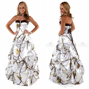 Sweetheart Beyaz Cowby Kamuflaj Gelinlik dökümlü Etek Saten Gelinlik Dantel Yukarı Geri Özel Artı boyutu Kamuflaj vestidos