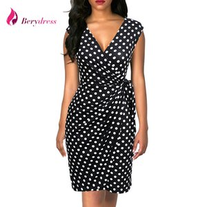 Berydress Vintage Kadınlar Puanl Cap Sleeve Siyah Wrap Vestidos Kılıf Bodycon Ince Midi Yaz Draped Parti Elbise Q190516