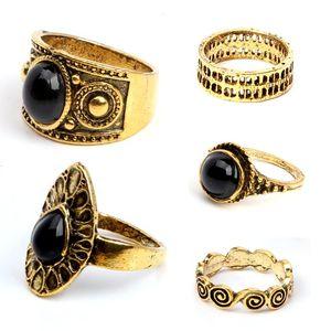 Anillos Colecciones 5 PC / sistema clásico de Black Clouds geométrica irregular juego de anillos de boda anillos de conjuntos