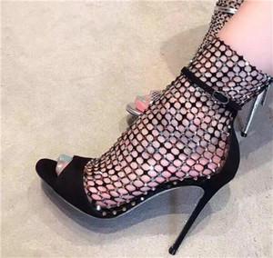 Frauen Bling Bling Mode Peep Toe Strass Mesh Kurze Dünne Ferse Stiefel Ausschnitt Zipper-up High Heel Ankle Booties
