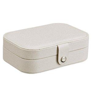 Mulher Jóias Caixa de armazenamento de imitação de couro Casos de viagem Brinco Anel colares de armazenamento presente Makeup Organizer Jewelry Box LJJA3573-14
