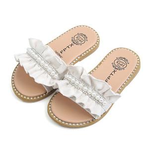 2019 nuevos niños de verano Primavera Otoño Zapatos Sandalias Toddler Baby Girls Sandalias Perlas Cristal Ruffles Princesa Zapatos Zapatillas Cómodo
