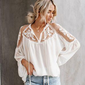 Sommer Spitze Aushöhlen Stickerei Frauen Langarm V-ausschnitt Beiläufige Lose Shirts Top Weiblich Weiß Schwarz Häkeln Bluse Q190523