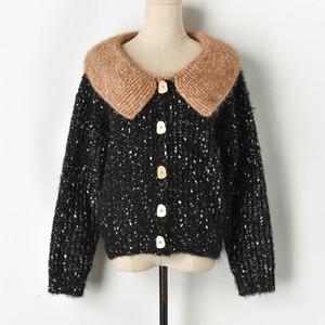 N14 2019 Осень Зима Multicolor Colorblock Вязаная заплатки кнопки Cardigans свитер с длинным рукавом нагрудные шеи Мода Свитера X10y91011