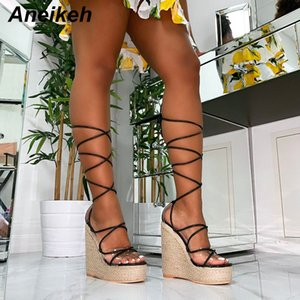 Aneikeh Leisure PVC Sandal Women Transparent Sandals Lace-Up Wedges High Heels Thin Belt Solid Black Gold Party Daily Size 35-42 Y200702
