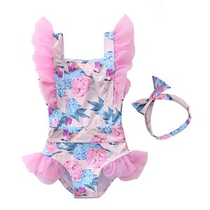 Baby Girls Beachwear Flower Print Toddler Summer Outfit Swimwear Lovely 12m Bathing Suit Summer Clothes