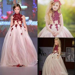 Eine Linie Stehkragen Blumen Mädchen Kleider Burgund Spitze Applique Langarm Teenager Prinzessin Pageant Kleider Prom Hochzeit Partykleid