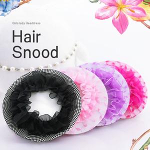 Al por mayor de las chicas del ballet de las mujeres Crotchet pelo rosa bailarina de danza sobre ruedas neto Negro brazoladas redecilla cubierta Bun