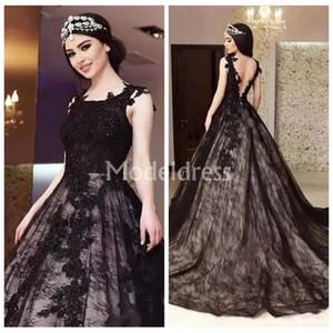 Abiti da sposa gotici neri Pizzo senza maniche Ball Gown Backless Stylish Train Abiti da sposa Elegante Vestidoe De Noiva Design unico di Charme