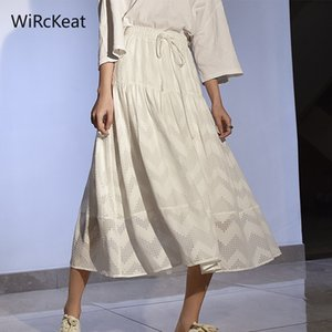 WiRcKeat Summer Lace Long Skirt Female Summer High Waist White Lace Up Skirts For Women Elastic Waist Pleated Skirt Green