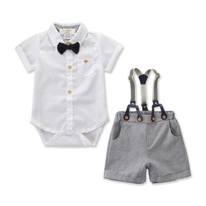 Newborn Infant Baby Boy Gentleman Clothes Shirt Top Pants Shorts Outfit Set