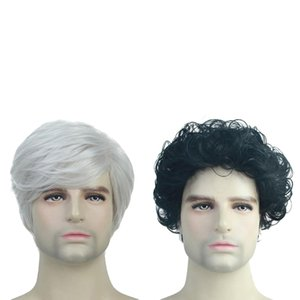 Fashion Short Straight Curly Wavy Wig Synthetic Full Wigs For Men 10'' 2pcs