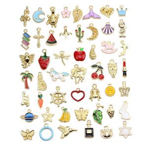 50 dessins colorés mélangés Glaze Petite tortue licorne Fraise Banane Cactus carotte Coeur Etoile Lune ... charme de montage pour bricolage Jewely