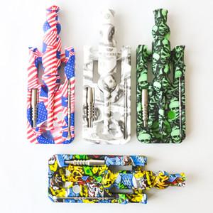 Печать Силикон Нектар Коллектор с 14мм совместный Ti ногтей Нектар Коллектор Kit Oil Rig Glass Bong Бесплатная доставка