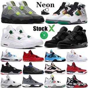 Neon 4 4s Erkekler metalik yeşil turuncu Jumpman Siyah kedi stilist yangın kırmızı single Ne Fiba rasta Erkek Basketbol Ayakkabı Spor Sneakers