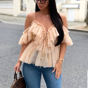 Le signore Lace Shirts Roffled Tiered Sling Mesh Bandage Short Tops Hollow Out Sexy Donne Off Top Scale Top A Blouses Daily Party Club Wear QCSV