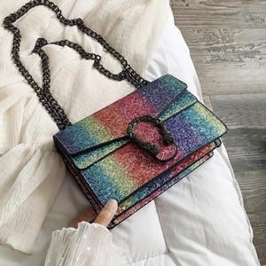 Borsa di cuoio all'ingrosso della borsa della catena del serpente del sequins dell'arcobaleno della borsa delle donne di marca all'ingrosso della fabbrica Borsa messicana del cuoio di modo borsa del cuoio di modo
