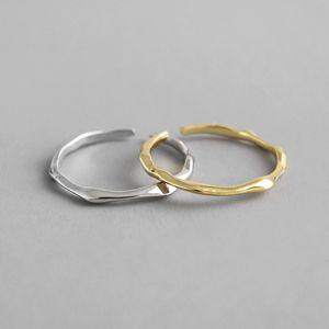 925 خواتم فضة غير النظامية مفتوح للنساء جديد بسيط خاتم الزواج صغيرة قابل للتعديل الكفة وحلقة عشاق الهدايا