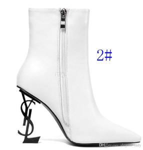 Güz Siyah Patent Deri Düğün Gelin Ayakkabı Gelin Lüks Sivri Burun Harfler Yüksek Topuklu Pompalar Bayanlar Çizmeler Için Tasarımcı