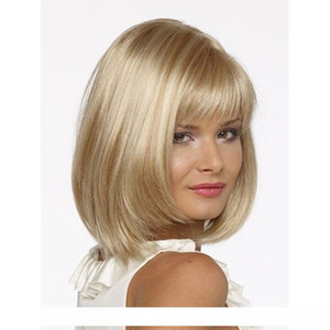 H Popular Blonde Hair Straight Short Bob Wig With Bangs For Women Synthetic High Heat Fiber Wigs Full Lace Wig Senior Silk Mix Length