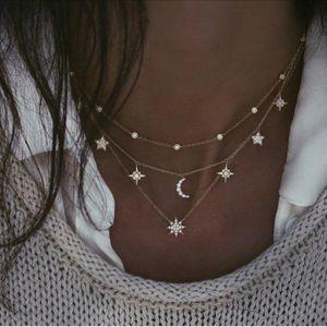 Combinazione di gioielli collana punk Boemia strass luna Pentagram Collana a più strati per le donne all'ingrosso