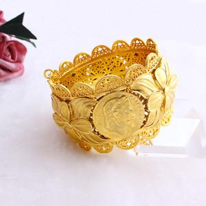70mm الاثيوبية عملة أزياء كبيرة واسعة الإسورة لون الذهب دبي النحاس مجوهرات إريتريا Jh العلامة التجارية سوار الملحقات MX190727